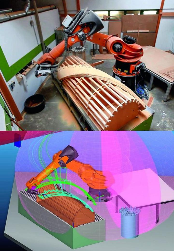 Roboterbasierte Bearbeitungszelle (oben) und angepasste Software (unten) beim Projektpartner Tischlerei Eigenstetter.  (c) Tischlerei Eigenstetter GmbH