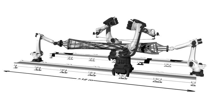 Abb.3: Eine mögliche Ausprägung der im RP14 entwickelten Cyber-Physical Prefabrication Platform,  © IntCDC, University of Stuttgart