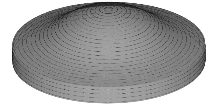 Schematische darstellung von Druckbahnen für eine asphärische Linse