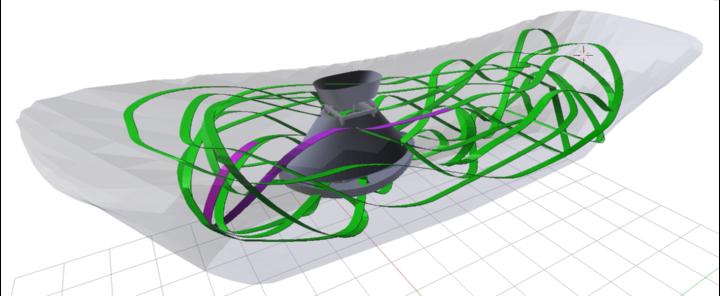 Visualisierung der Trajektorie eines Seilroboters mit der farblichen Codierung grün für erfolgreiche Tests  und violett für fehlgeschlagene Dynamiktests (c)