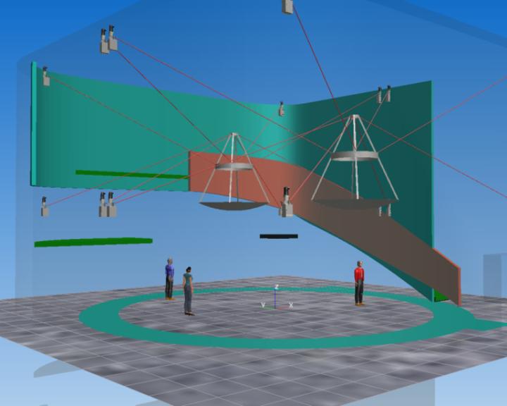 Erster Entwurf der Seilroboter für die Show im deutschen Pavillon, welcher aus zwei vollverspannten Seilrobotern besteht (c)