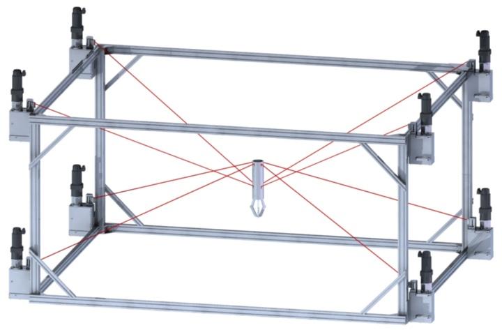 IPAnema1-Seilroboter des Fraunhofer IPA mit 8 Seilen (in rot) und 6 Freiheitsgraden. (c)