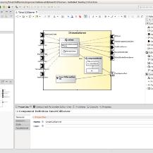 Im Tooling werden die wesentlichen Kompositionseigenschaften von Komponenten graphisch modelliert.  Dabei unterstütz ein Katalog vorgefertigter Schnittstellen.   Technische Hochschule Ulm