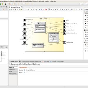 Im Tooling werden die wesentlichen Kompositionseigenschaften von Komponenten graphisch modelliert.  Dabei unterstütz ein Katalog vorgefertigter Schnittstellen.